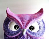 OWL Purple and hot pink Hand Painted Owl Coin Can be Personalized Pretty Pink Purple Owl