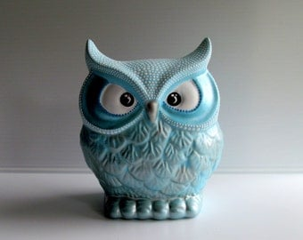 OWL Blue and White Hand painted Owl coin Bank Piggy Bank Owly Winter wonderland Winter owl bank Can be Personalized