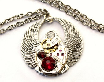 Steampunk Scarab Necklace Ruby Red Egyptian Style July Birthstone Swarovski Crystal Clockwork Beetle Jewelry Designed by London Particulars