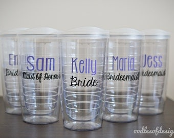 Bachelorette Party Tumblers, Bridesmaids Tumblers - Set of TEN 16 oz  - Bridal Party Tumblers, Wedding Party Tumblers