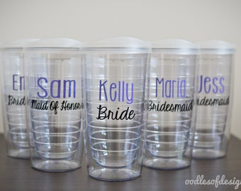 Bridesmaids Tumblers - Set of TWELVE Personalized Pacific Tumblers 16 oz  - Bridal Party Tumblers, Wedding Party Tumblers, Bachelorette Cups