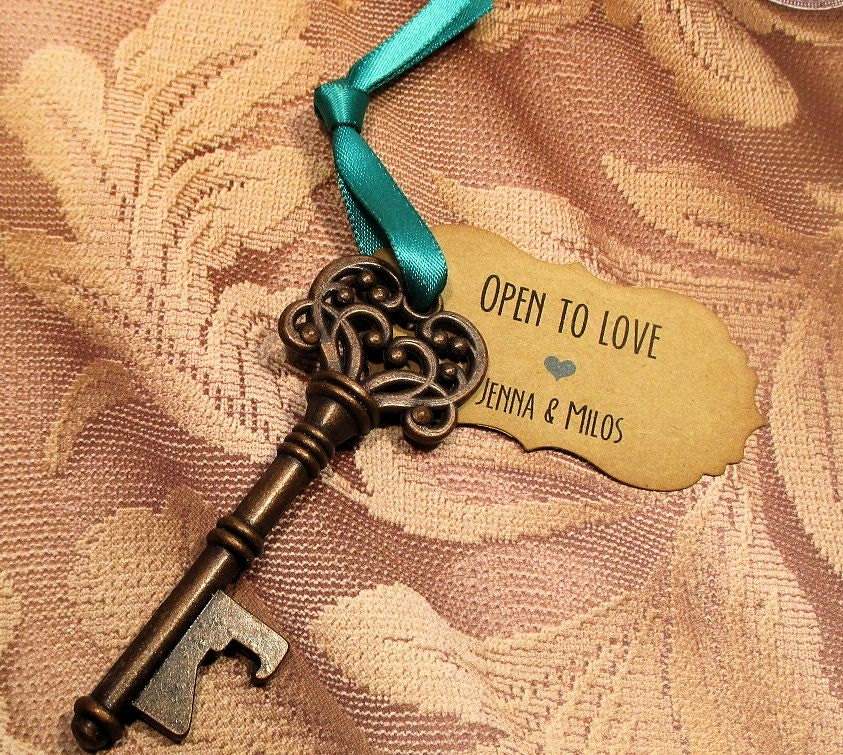 key bottle opener wedding favor set of 10 skeleton key