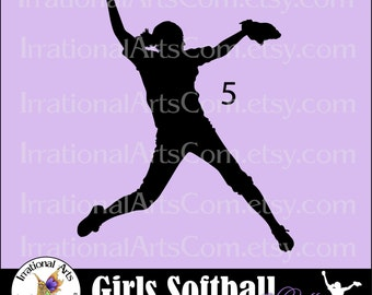 VInyl Ready Softball Women Pitcher Pose 5 INSTANT DOWNLOaD digital cilipart graphics 1 png and 1 EPS and 1 SVG files baseball