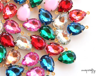 10pc resin teardrop 18x13mm rhinestone gem charms in gold tone one-loop settings / set stones for your jewelry designs