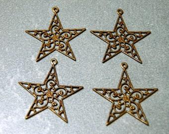 Brass Filigree Star Charm - 25mm (4)