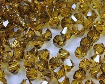 Vintage Swarovski Light Topaz Satin 5mm Faceted Fire Polished Crystal Bicone Beads (24)