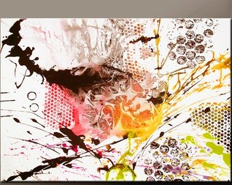 Abstract Canvas Art Prints 30x20 Contemporary Modern Art Giclee Print on Wrapped Canvas by Destiny Womack  - Instinct II -  dWo