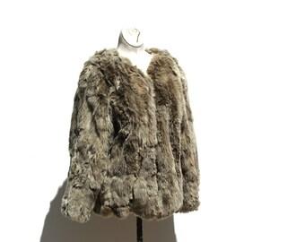 Gray Rabbit Fur Jacket