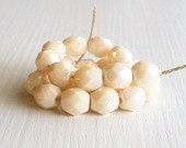 25 Opaque Champagne Luster 6mm Rounds - Czech Glass Beads