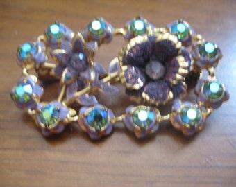 Unsigned Austrian Flower Brooch Plum Enamel Flowers and Light Sapphire AB Rhinestones