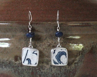 Vintage Broken China Ceramic Shards Earrings, Sterling Silver, Stone Beads, Traditional Blue Onion Pattern