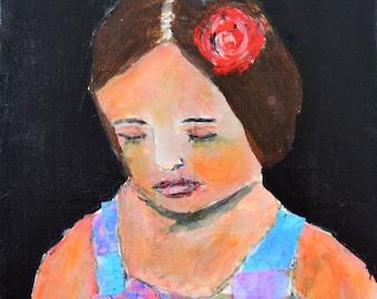 Girl Portrait Painting Print. Girl & Red Rose Flower Digital Print. Living Room Wall Art Prints. Flower Girl Gift