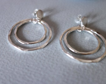 Hammered Silver Double Hoops on Post Earrings