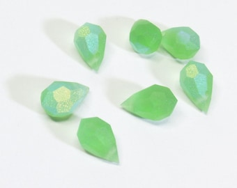 Matte Peridot AB Teardrop Crystal Green Briolette Beads - 6 pieces