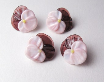 PANSIES Glass Flower Button Beads handmade jewelry supplies in amethyst purple and candy pink