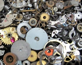 1 oz 28 grams Vintage Watch movements parts cogs gears Steampunk Z 7