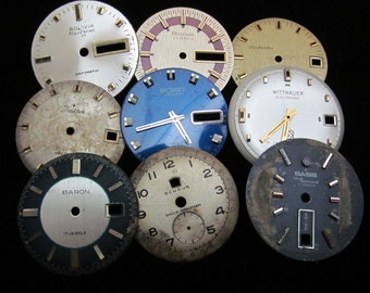 Vintage Antique Watch Dials Steampunk  Faces Parts Altered Art Industrial A 93