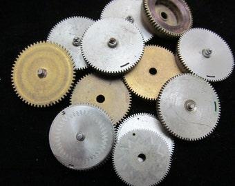 12 Antique Vintage Clock Watch Parts Cogs Gears Assemblage Steampunk Industrial Art Goodies CG 87