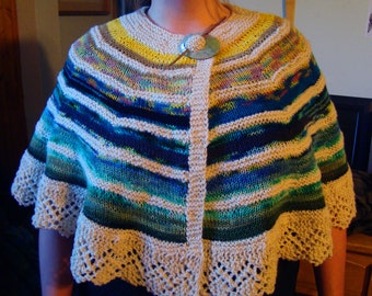 Ocean Sunrise Shawl Hand Knit Semi Circle Seafoam Waves One Size Virgin Wool