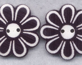 Flower Wood Buttons Wooden Buttons Black and White Flowers 36mm (1 1/2 inch) Set of 2/BT313