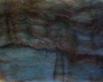 Alpaca Wool Firestar Batt Spinning Fiber Rusty Brown Aqua Blue 2.7 ounces B019