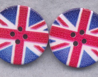 Union Jack Buttons Decorated British Flag Wooden Buttons  30mm (1 1/4 inch) Set of 2 /BT338