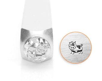 Moo Design Stamp, Animal Metal Stamps, Carbon Steel Stamp, ImpressArt Stamp, SC1513-M-6MM, Animals and Nature Stamps