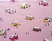 Heather Ross Volkswagen Volkswagon Van Vans in Pink - HALF YARD - Quilting Cotton Fabric - Lightning Bugs and Other Mysteries