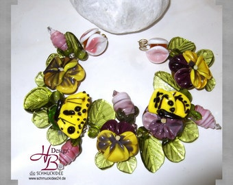 17 Beads, Butterfly Pansys yellow, Lampwork Pendant, Fokal Bead, Beads, Unique pendant, Earring Beads, SRA