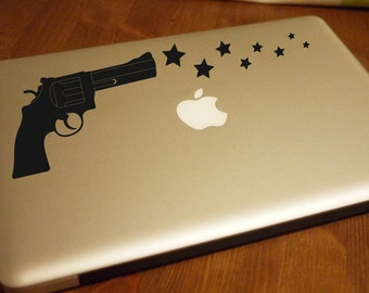 Gun Shooting Stars - Laptop Stickers Car or Wall Decals