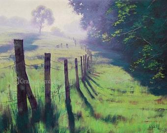 SHEEP FARM PAINTING traditional rural landscape Pastoral Landscape Realistic Art by Graham Gercken