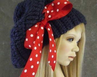 Navy Crochet Slouchie Hat, Crochet Hat,Hipster Hat, Toddler Hat, Tween Hat, Red,White and Blue, Girl's Accessory,Ribbed Slouchy Hat