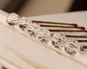 Clear Crystal Bobby Pins, Swarovski 10 mm Crystals on Bronze Pins, Clear Crystal Bridal Hair Pin, Single Crystal Pin, Wedding Bobby Hair Pin