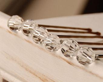 Clear Crystal Bobby Pins, Swarovski 10 mm Crystals on Bronze Pins, Crystal Hair Pins, Bridal Hair Pins, Single Crystal Pin, Wedding Hair Pin