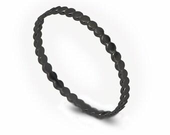 Oxidized Silver Ring , Oxidized Circles Wedding Ring , Silver Bead Rings , Ball Wedding Band , Thin Wedding Ring , Delicate Wedding  Ring