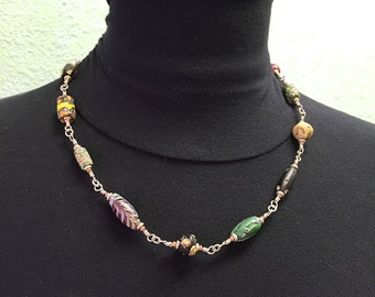 African Trade Bead and Sterling Silver Necklace 22 inches