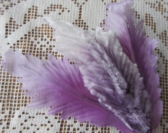 Vintage Paris France Millinery Purple Ombre Velvet & Fabric Leaves 1950s French  VL C18P
