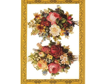 England Paper Lithograph Die Cut Scraps Roses Flowers  A-19