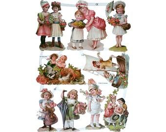 Germany Die Cut Victorian Children Paper Lithograph Scraps  7130