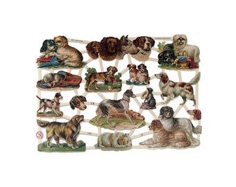 Germany Paper Scraps Lithographed Die Cut Victorian Dogs  7289