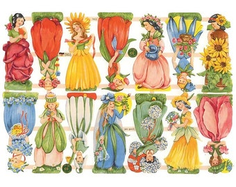 Germany Paper Scraps Lithographed Die Cut Victorian Flower Girls  7412