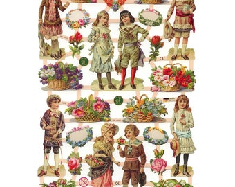 Germany Paper Scraps Lithographed Die Cut Victorian Children  7368