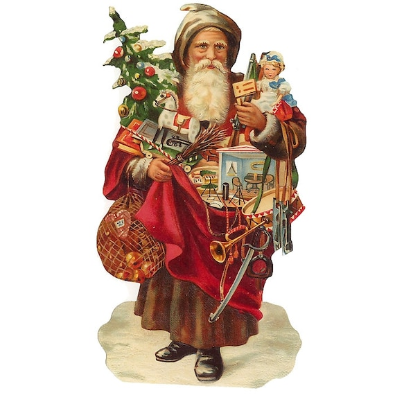 Victorian Father Christmas Decorations: Germany Large Single Lithographed Die Cut Paper Scrap
