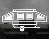 Pop up trailer. Pop up camper. Car window decal. Camping. Campground. Camping gear. Travel. Campsite. Camping bumper sticker. Travel Trailer