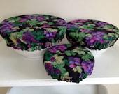 Reusable Environmental Microwave Bowl Basket Container Elastic Picnic Cover Grape Cotton Fabric (3 Piece)