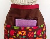 Half Waist Apron Teacher Vendor Art Craft  iPad Brown Apples Fabric (4 Pockets)