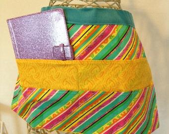 Apron Waist Half Art Craft Vendor Teacher iPad Device Stripe Yellow Fabric (6 Pockets)