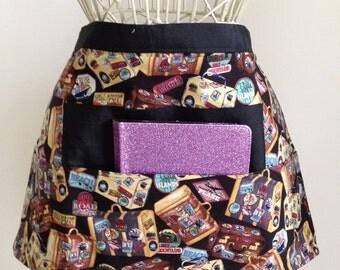 Half Waist Vendor Apron Craft Art Teacher iPad Device Suitcase Travel Fabric (4 Pockets)
