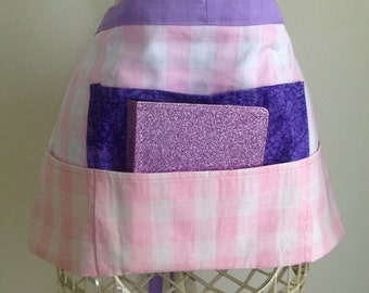 Vendor Teacher Waist Half iPad Apron Art Craft Spring Purple Pink Checker Gingham Fabric (4 Pockets)