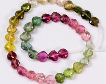 "5mm-5.5mm Pink Green Blue Tourmaline Faceted Heart Briolette 8"" Strand"